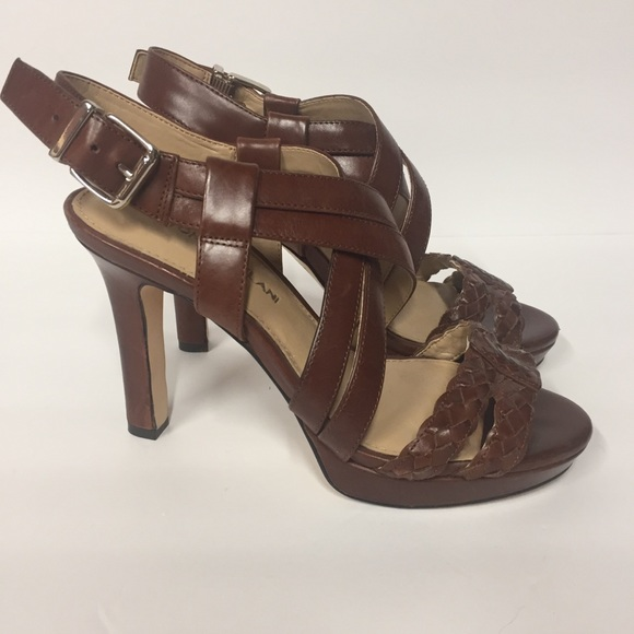Antonio Melani Suede Braided Peep Toe Heels 6m Leather Upper